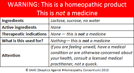 Homeopathy label